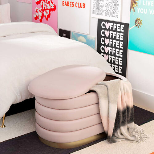 Tov Furniture - Lillian Blush Velvet Storage Bench