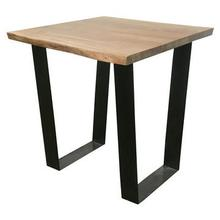 Bengal Manor Iron and Live Edge Natural Acacia Wood Rectangle End Table