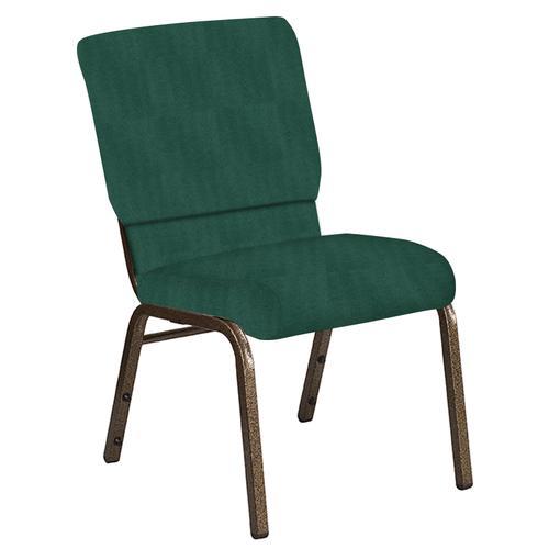 Flash Furniture - 18.5''W Church Chair in Interweave Emerald Fabric - Gold Vein Frame