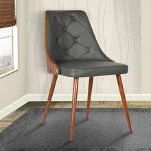 Armen Living Lily Mid-Century Dining Chair in Walnut Finish and Gray Faux Leather