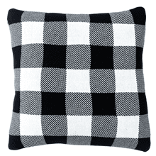 Black & White Buffalo Plaid Knit Pillow