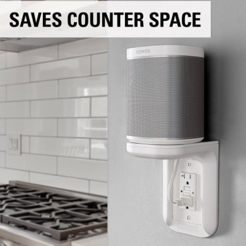 White Outlet Shelf for Electronics and Speakers up to 10 lbs