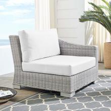 Conway Sunbrella® Outdoor Patio Wicker Rattan Right-Arm Chair in Light Gray White