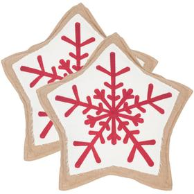 Snowflake Cookie Pillow - Red / White