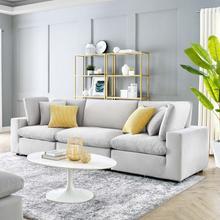 Commix Down Filled Overstuffed Performance Velvet 3-Seater Sofa in Light Gray
