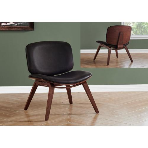 Gallery - ACCENT CHAIR - DARK BROWN LEATHER-LOOK FABRIC