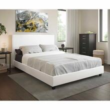 White Modern Platform Bed, Upholstered Pu Leather, Bed, Solid Wooden Slats Support, Twin-full-queen (wholesale)