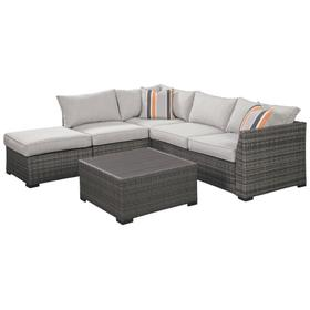 Cherry Point Loveseat Sectional/Ottoman/Table 4 Piece Set Gray