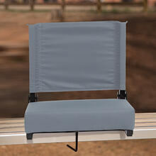 See Details - Grandstand Comfort Seats by Flash - 500 lb. Rated Lightweight Stadium Chair with Handle & Ultra-Padded Seat, Gray