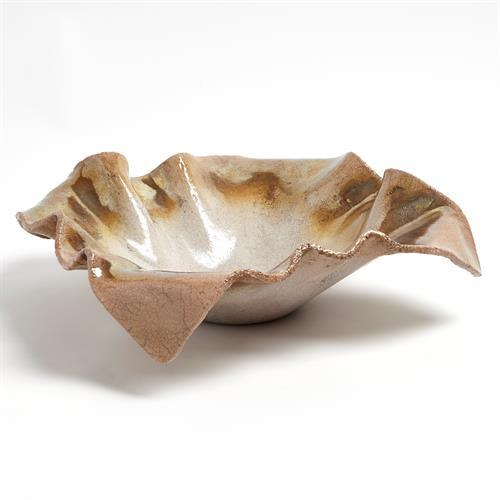 Folded Ripple Bowl-Raku