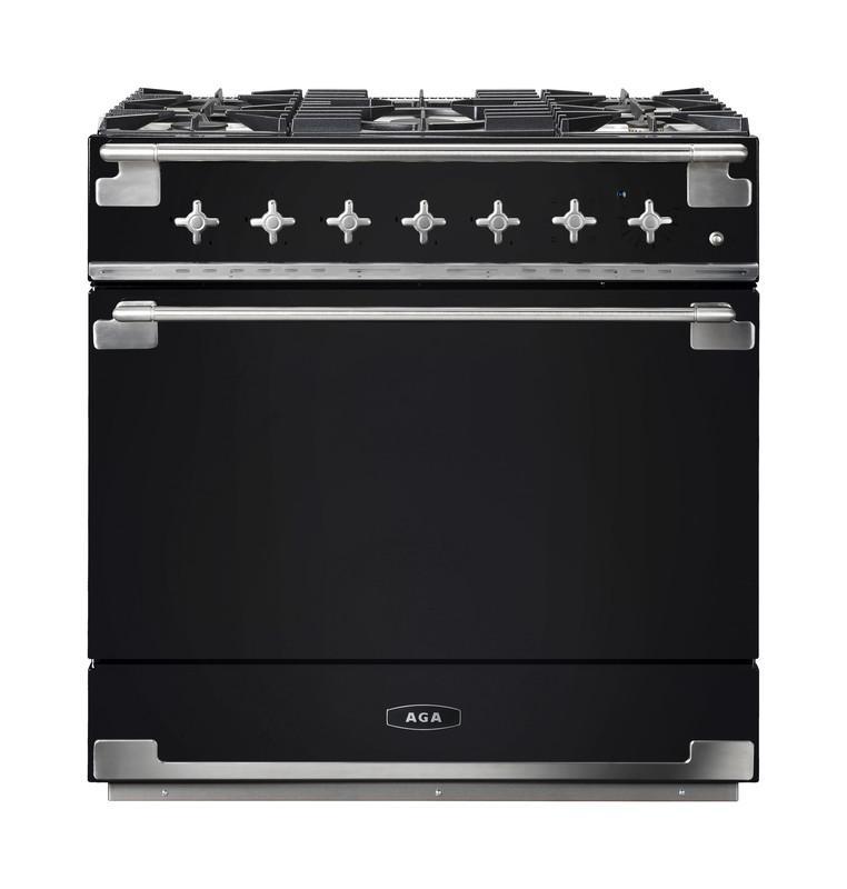 AGAAga Elise 36 Dual Fuel Gloss Black With Chrome Trim