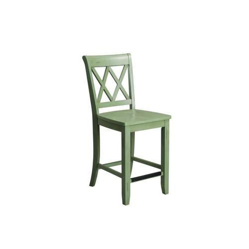 Gallery - Vintage Distressed 2-Pack Green Counter Height Stools