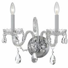 Traditional Crystal 2 Light Clear Crystal Chrome Sconce