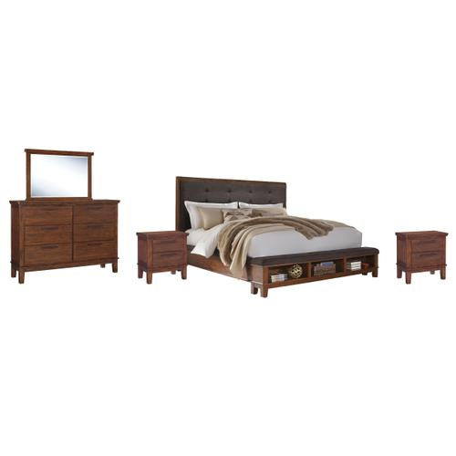 Product Image - California King Upholstered Panel Bed With Mirrored Dresser and 2 Nightstands