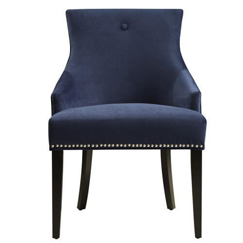Accentrics Home - Nailhead Trimmed Upholstered Dining Chair in Navy Blue