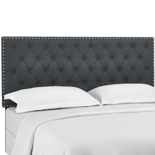 Helena Tufted King and California King Upholstered Linen Fabric Headboard in Gray