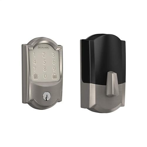 Schlage Encode Smart WiFi Deadbolt with Camelot Trim (for Works with Ring Video Doorbells and Cameras) - Satin Nickel