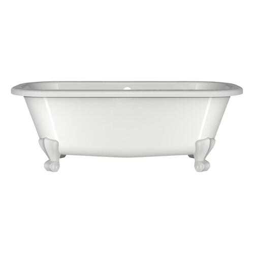 Richmond 66 Inch x 29-3/8 Inch Freestanding Soaking Bathtub in Volcanic Limestone™ with Overflow Hole - Gloss White