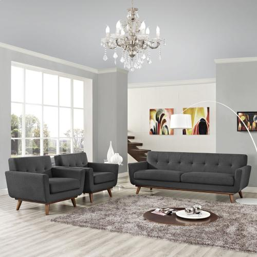 Modway - Engage Armchairs and Sofa Set of 3 in Gray