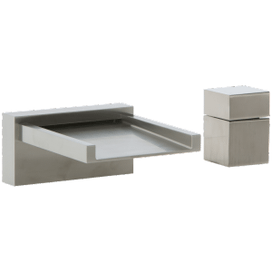Quarto 2-Hole Deck Mount Open Chute Tub Filler with Cube Control Brushed Nickel Product Image