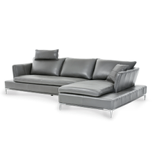 See Details - Lazzio Leather LAF Sofa in Graphite w/Headrest St.Steel