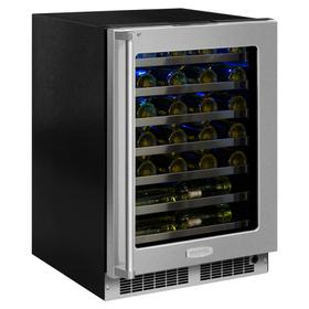 24-In Professional Built-In High Efficiency Single Zone Wine Refrigerator with Door Style - Stainless Steel Frame Glass, Door Swing - Right