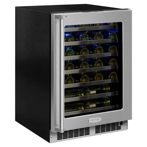 """Marvel - 24"""" Professional Built-In Single Zone Wine Refrigerator - Stainless Steel Frame Glass, Door Swing - Right - CLEARANCE ITEM"""