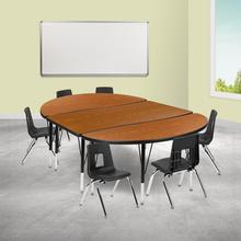 "76"" Oval Wave Collaborative Laminate Activity Table Set with 12"" Student Stack Chairs, Oak\/Black"