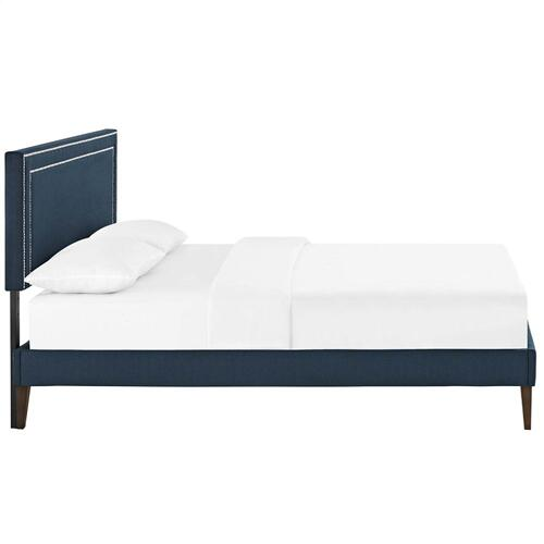 Virginia Queen Fabric Platform Bed with Squared Tapered Legs in Azure