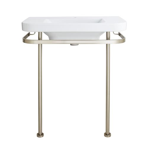 Dxv - Equility Console Sink - Single Faucet Hole - Canvas White / Brushed Nickel