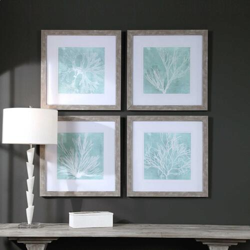 Seaweed on Aqua Framed Prints S/4