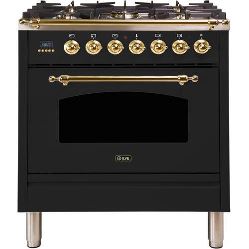 Ilve - Nostalgie 30 Inch Dual Fuel Liquid Propane Freestanding Range in Glossy Black with Brass Trim