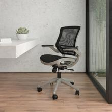 See Details - Mid-Back Transparent Black Mesh Executive Swivel Office Chair with Graphite Silver Frame and Flip-Up Arms