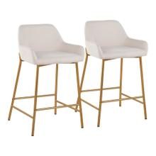 See Details - Daniella Fixed-height Counter Stool - Set Of 2 - Gold Metal, Cream Fabric