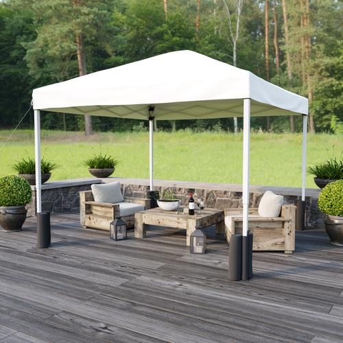 Flash Furniture - 10'x10' White Pop Up Event Straight Leg Canopy Tent with Sandbags and Wheeled Case