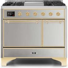 Majestic II 40 Inch Dual Fuel Natural Gas Freestanding Range in Stainless Steel with Brass Trim