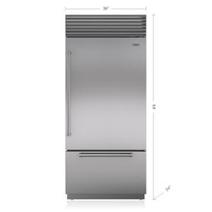 "Subzero36"" Classic Over-and-Under Refrigerator/Freezer with Internal Dispenser"