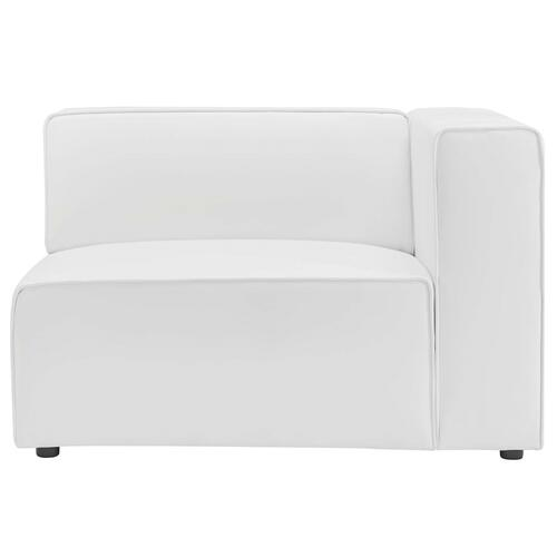 Mingle Vegan Leather Right-Arm Chair in White