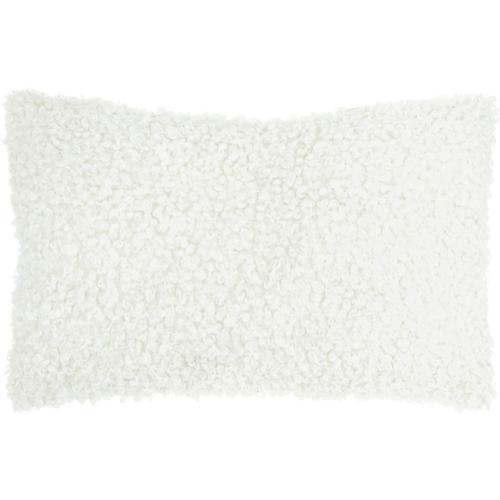 "Faux Fur Fl200 Ivory 14"" X 24"" Lumbar Pillow"