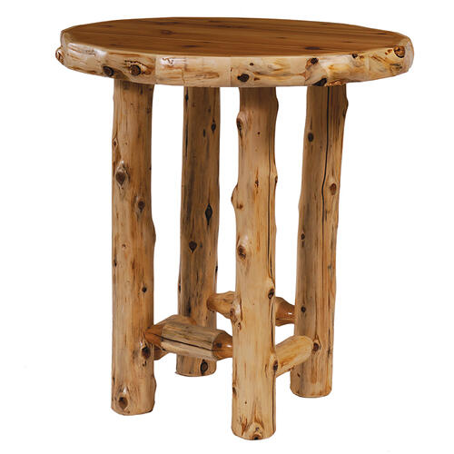 Round Pub Table - 40-inch - Natural Cedar - Liquid Glass