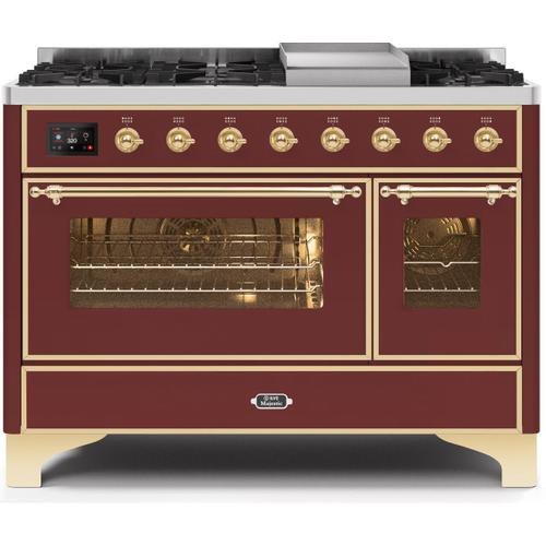 Majestic II 48 Inch Dual Fuel Natural Gas Freestanding Range in Burgundy with Brass Trim