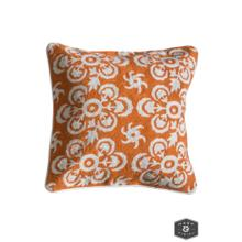 See Details - LOWRY PILLOW- ORANGE  Hand Embroidered Wool on Cotton  Down Feather Insert