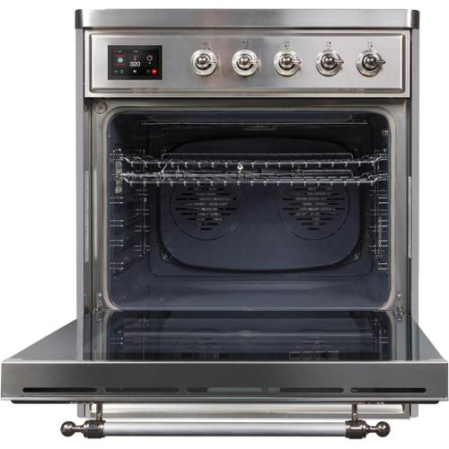 Majestic II 30 Inch Electric Freestanding Range in Stainless Steel with Chrome Trim