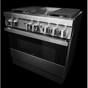 """JennAir - NOIR™ 36"""" Dual-Fuel Professional Range with Chrome-Infused Griddle"""
