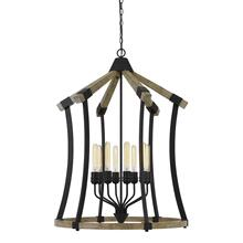 Dali 60W X 8 Metal/Pine Wood Chandelier (Edison Bulbs Not included)