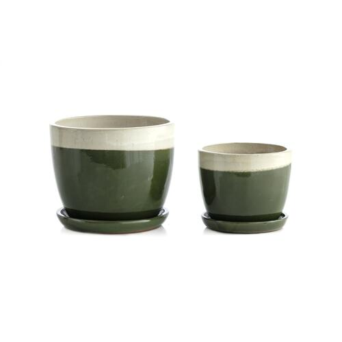 Cloud Weave Mezzo Planter w/ attchd saucer - Set of 2