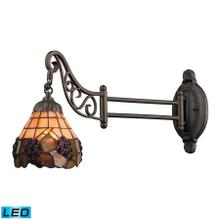 See Details - Mix-N-Match 1-Light Swingarm Wall Lamp in Tiffany Bronze and Tiffany Style Glass - Includes LED Bulb