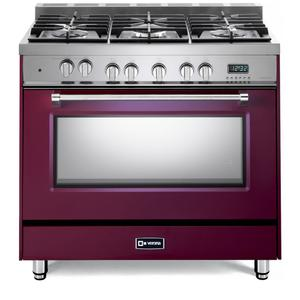 "VeronaBurgundy 36"" Dual Fuel Single Oven Range - Prestige Series"