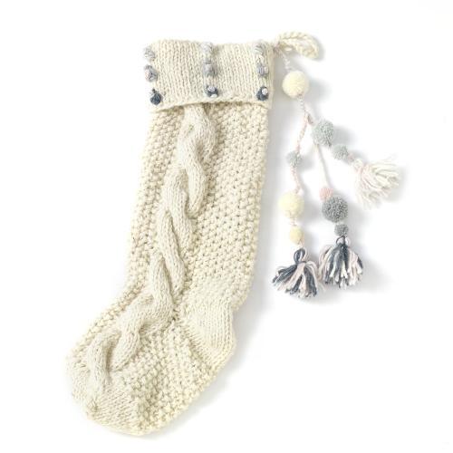 """6.25""""x 20"""" Pink Hand Knit Stocking (Dots/ Tassels Option)"""