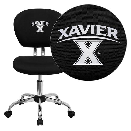 Xavier University Crusaders Embroidered Black Mesh Task Chair with Chrome Base